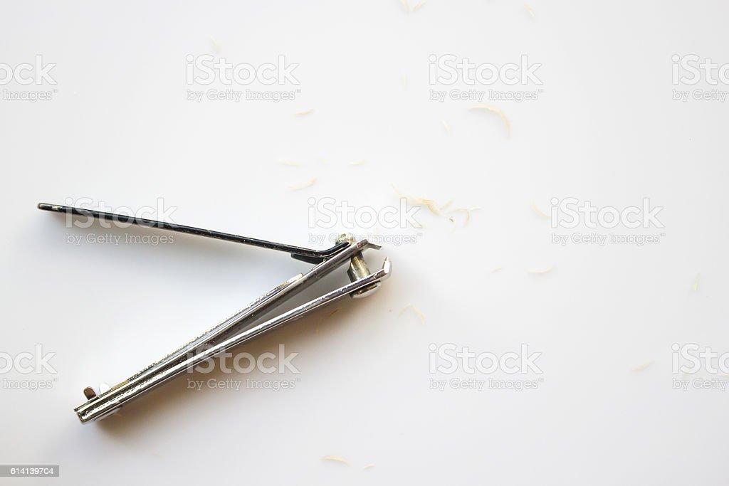 Nail's clipper with nail scrap. stock photo