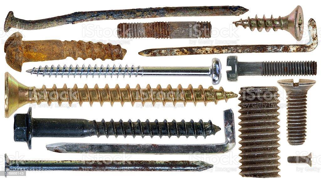 nails hooks srews on white background royalty-free stock photo