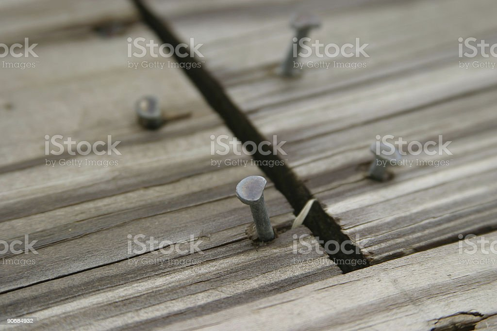Nails in Wood stock photo