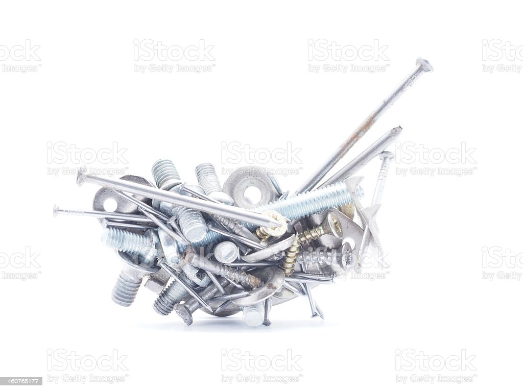 Nails, screws and nuts on a white background stock photo