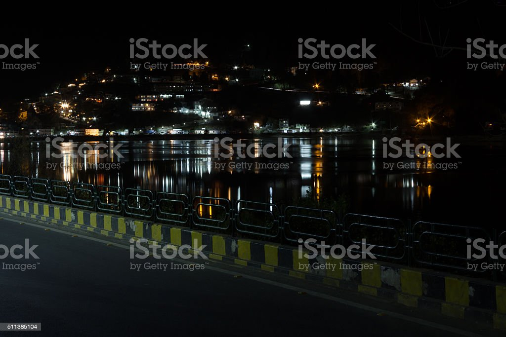 Nainital Cityscape Lake Naini Lake Waterfront India stock photo