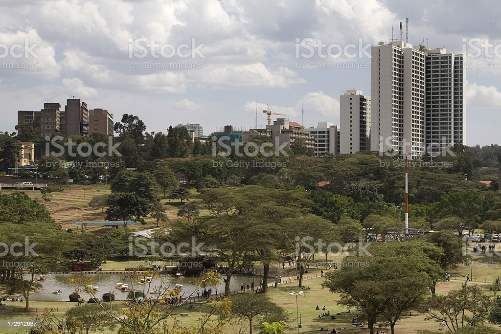 Nairobi city aerial view stock photo