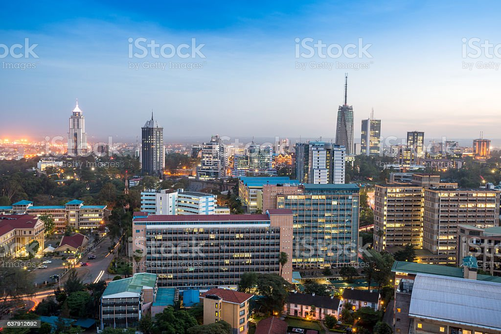 Nairobi cityscape - capital city of Kenya stock photo