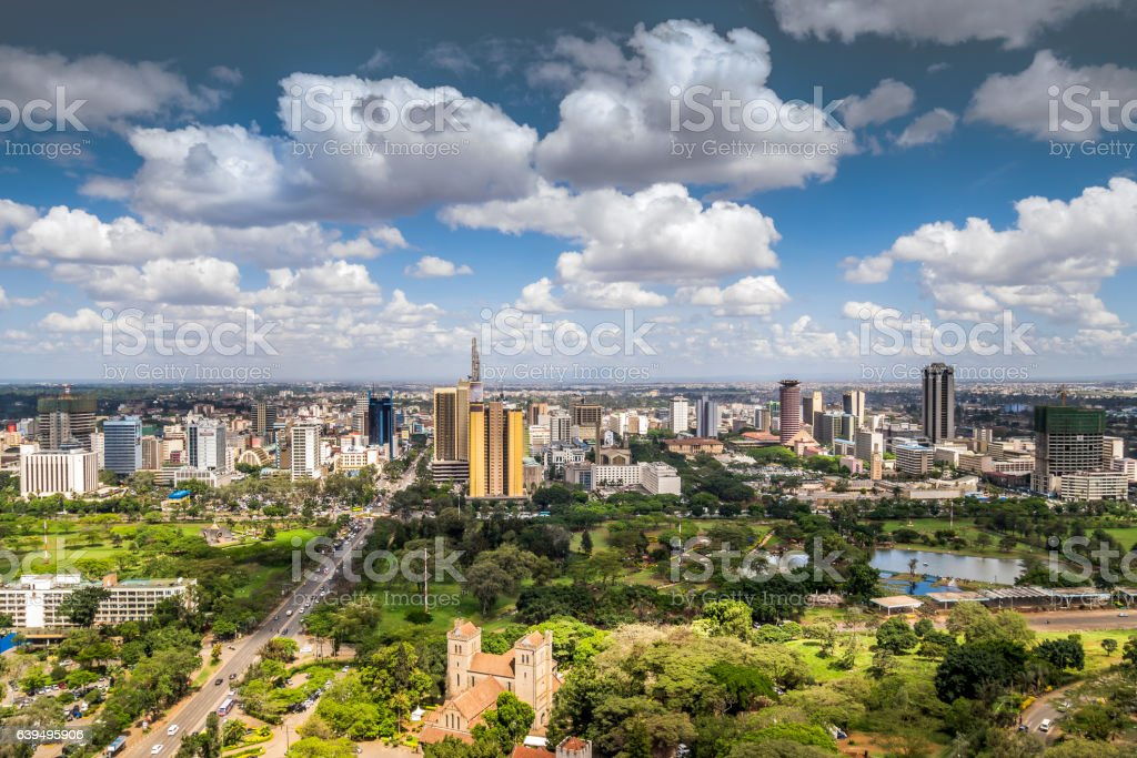 Nairobi downtown - capital city of Kenya stock photo