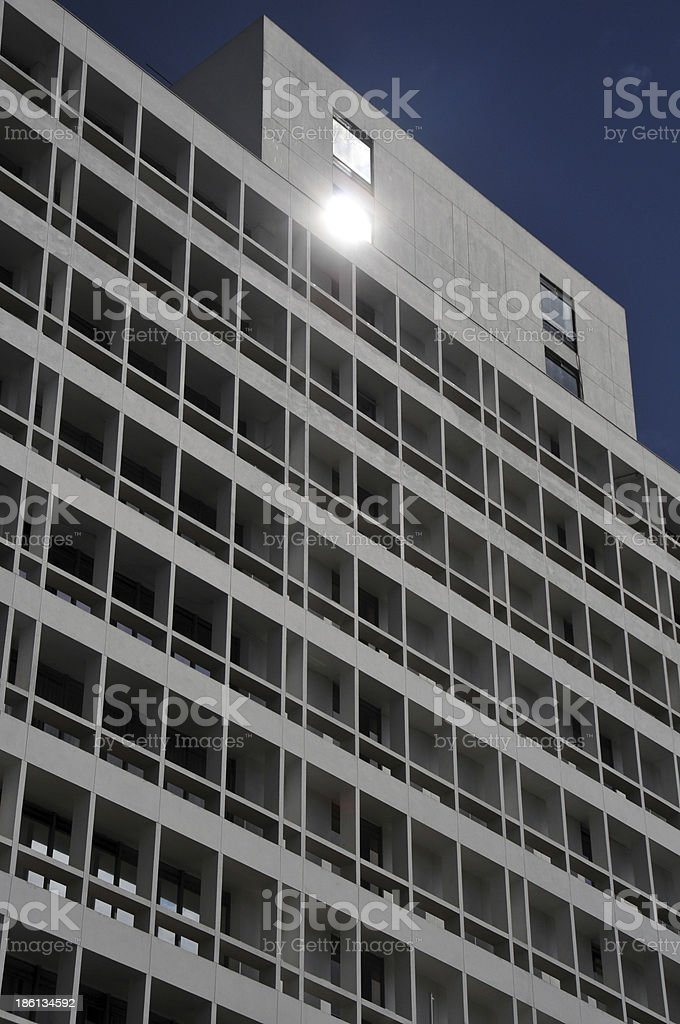 Nairobi, Kenya: business district facade with sun refletion stock photo