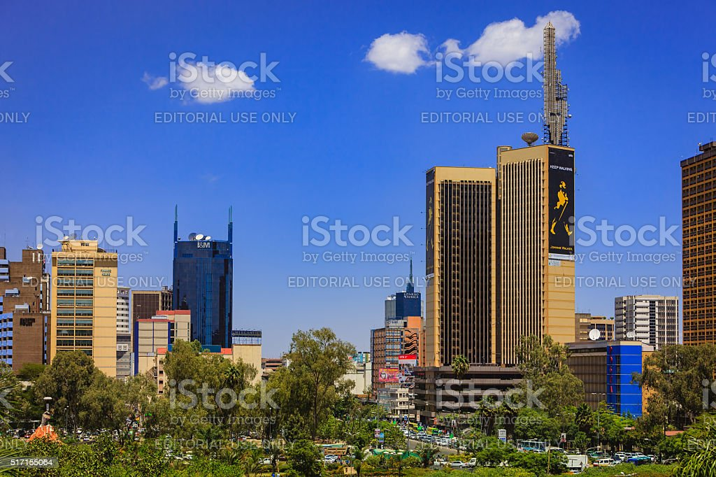 Nairobi, Kenya - Busy downtown Kenyatta Avenue stock photo