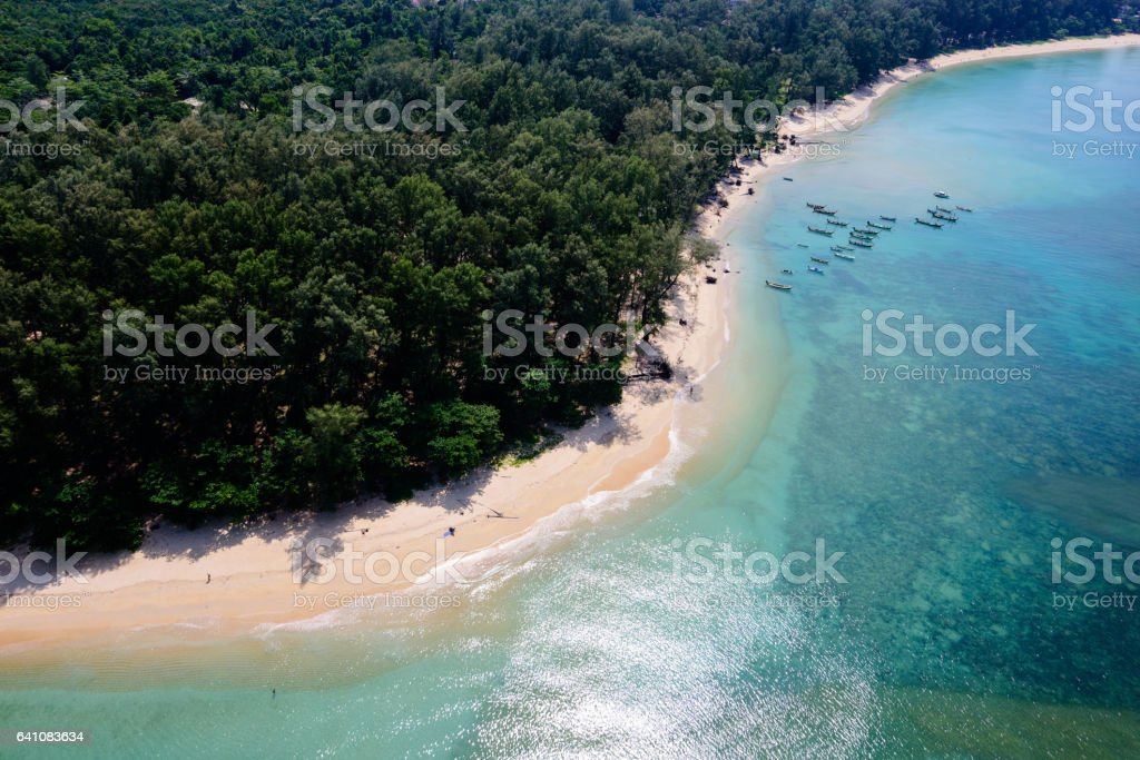 Naiyang beach Phuket view from helicopter stock photo