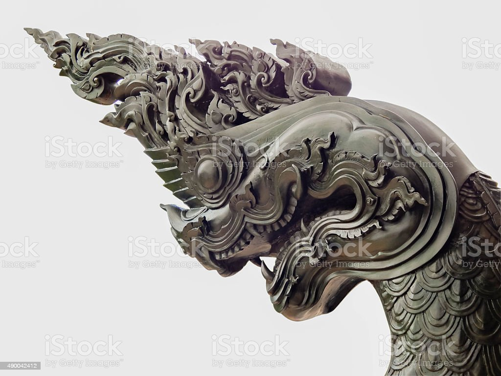 Naka Dragon statue in a public temple Thailand stock photo