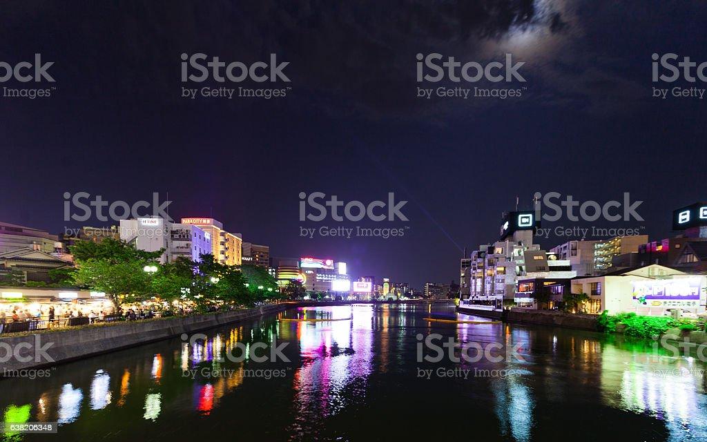 Naka River Nightlife in Fukuoka, Japan stock photo