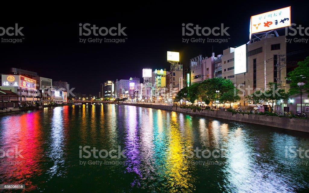 Naka Riverfront District in Fukuoka at Night stock photo
