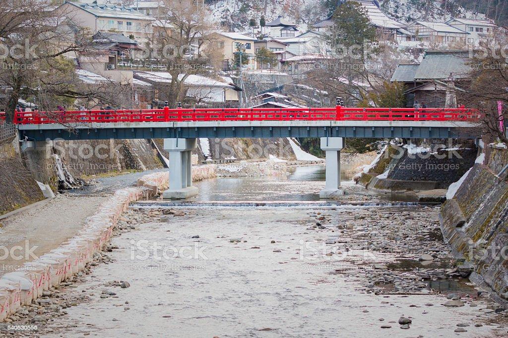 Nakabashi red bridge in takayama city. stock photo