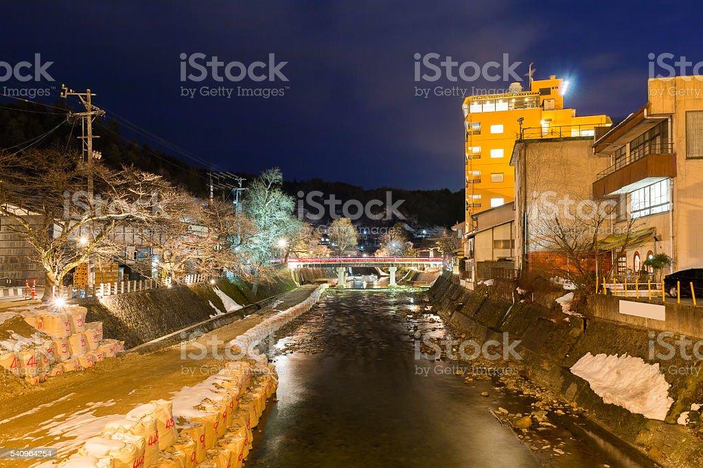 Nakabashi red bridge in takayama old city in night stock photo