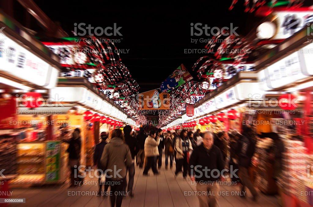 Nakamise dori at night, Asakusa, Tokyo, Japan stock photo