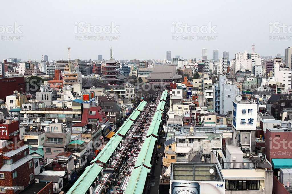 Nakamise of you looked down from above Asakusa stock photo