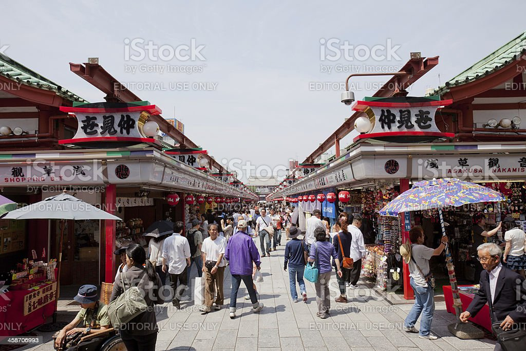 Nakamise Shopping Arcade in Japan stock photo