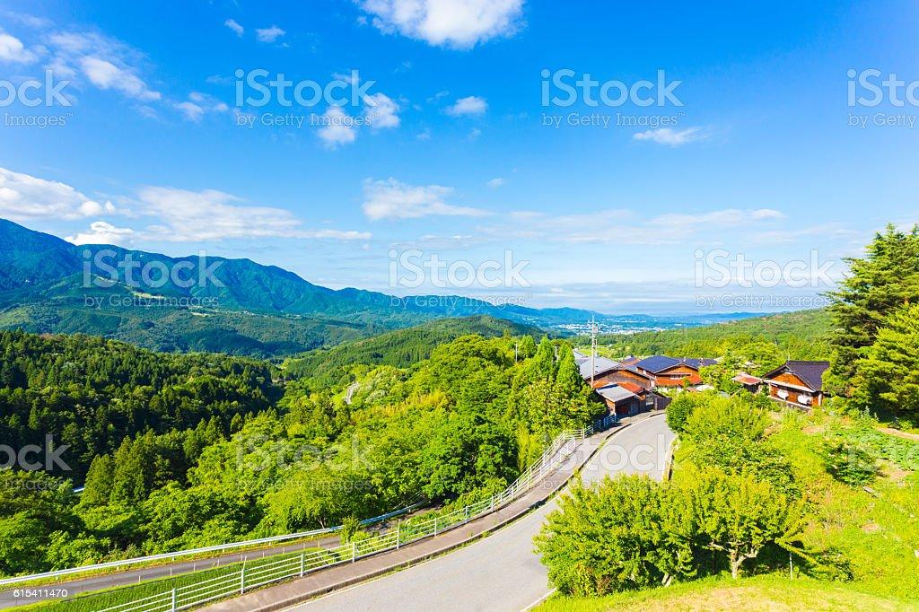 Nakasendo Magome Overlooking Kiso Valley Japan stock photo