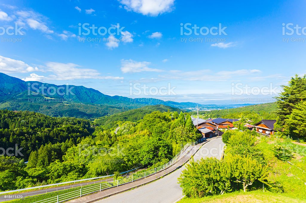 Nakasendo Magome Overlooking Kiso Valley Japan stock photo