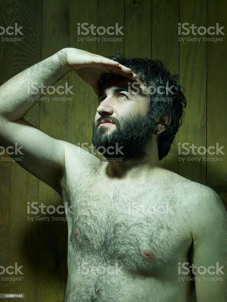 Naked, Adults man portrait, looking at the upper corner royalty-free stock photo