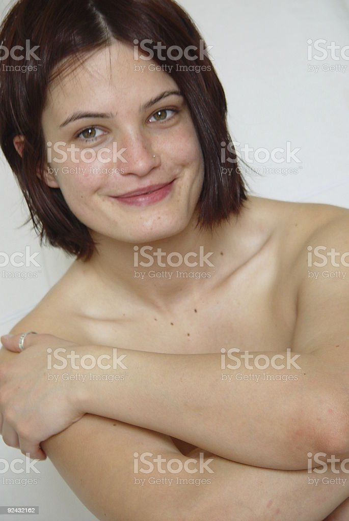 naked and smiling stock photo