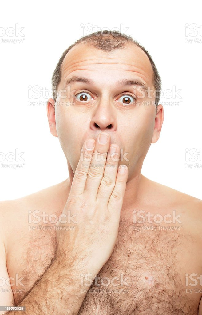 Naked and surprised royalty-free stock photo