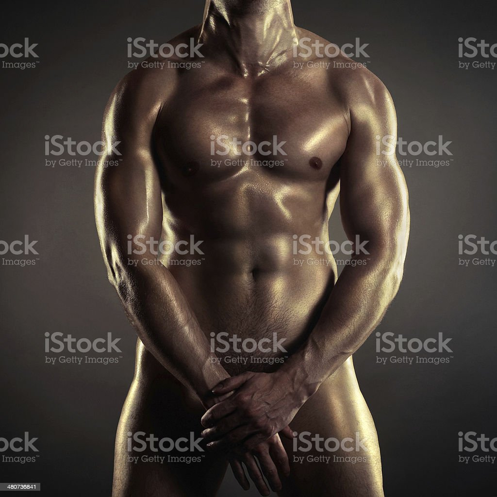 Naked athlete stock photo