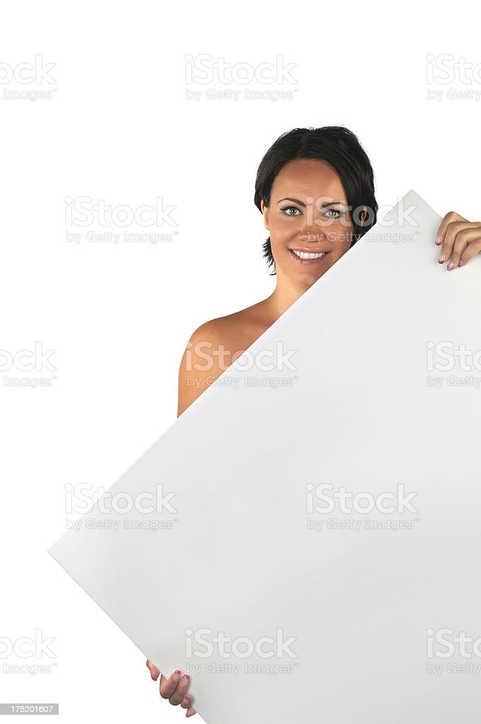 Naked beautiful woman covering with blank billboard royalty-free stock photo