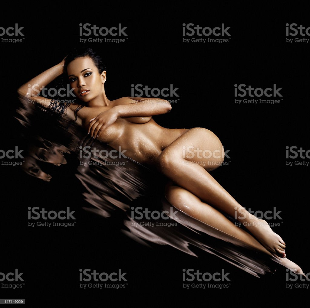 naked beautiful woman posing in water royalty-free stock photo