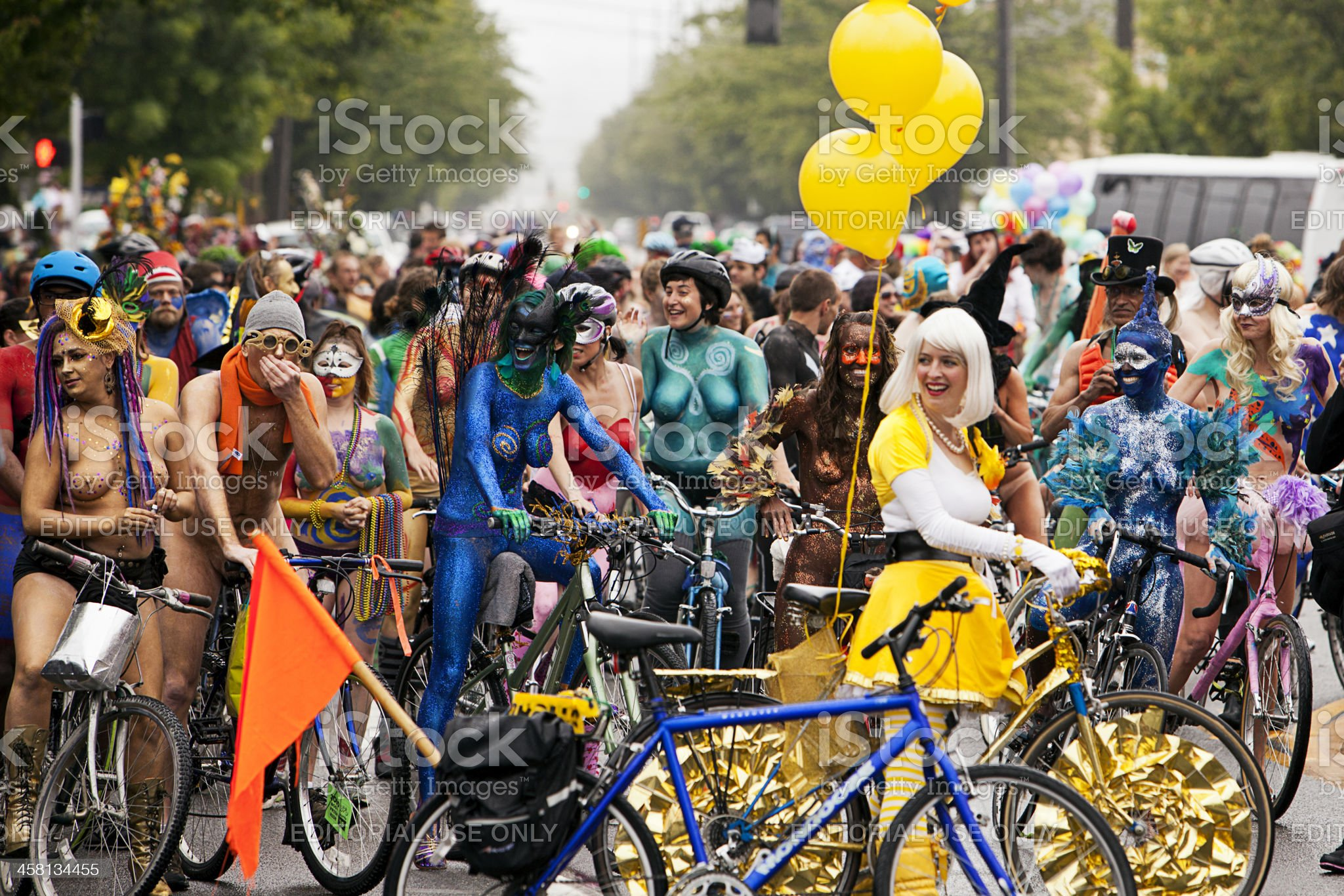 Naked Bicyclists In Parade royalty-free stock photo