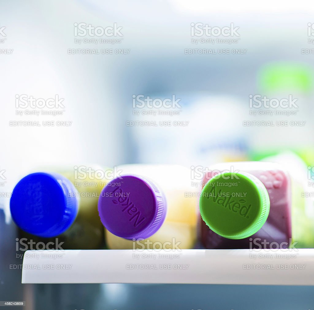 Naked Brand Juice Drinks Inside Refrigerator royalty-free stock photo