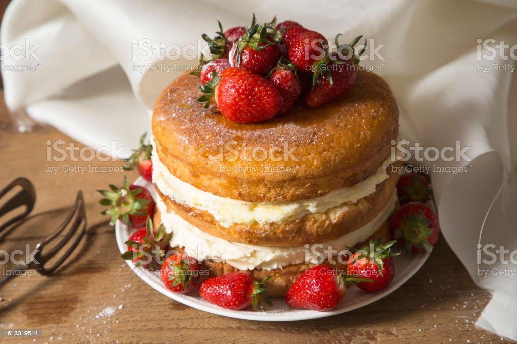 Naked cake stock photo