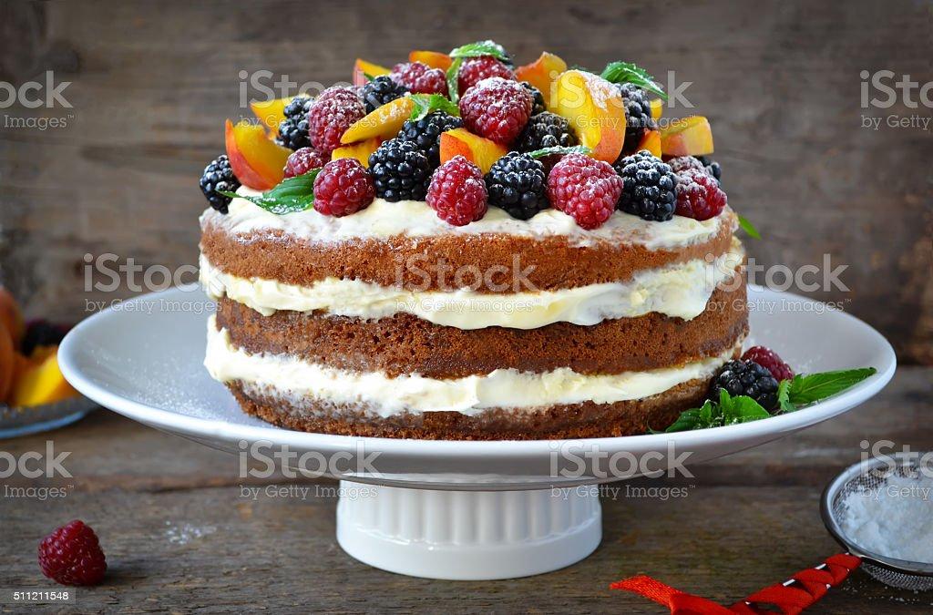 Naked cake with cream stock photo