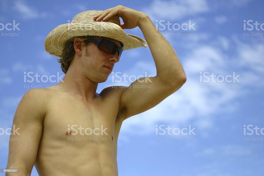 Naked Cowboy stock photo