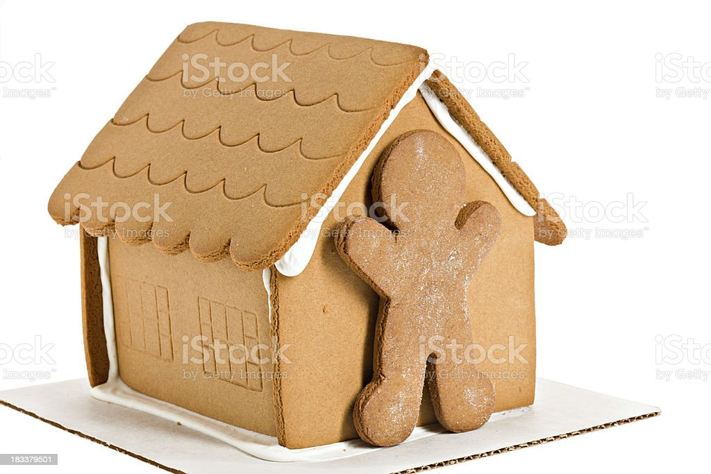 Naked Gingerbread Man and House Isolated stock photo