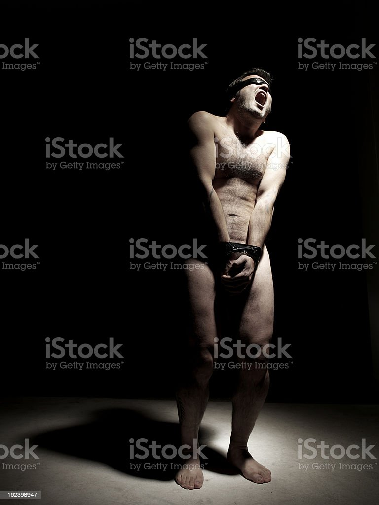 Naked Hostage tied-up royalty-free stock photo