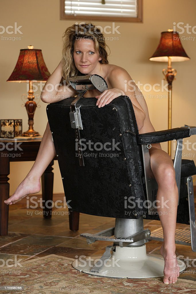Naked lady on the chair 10 royalty-free stock photo