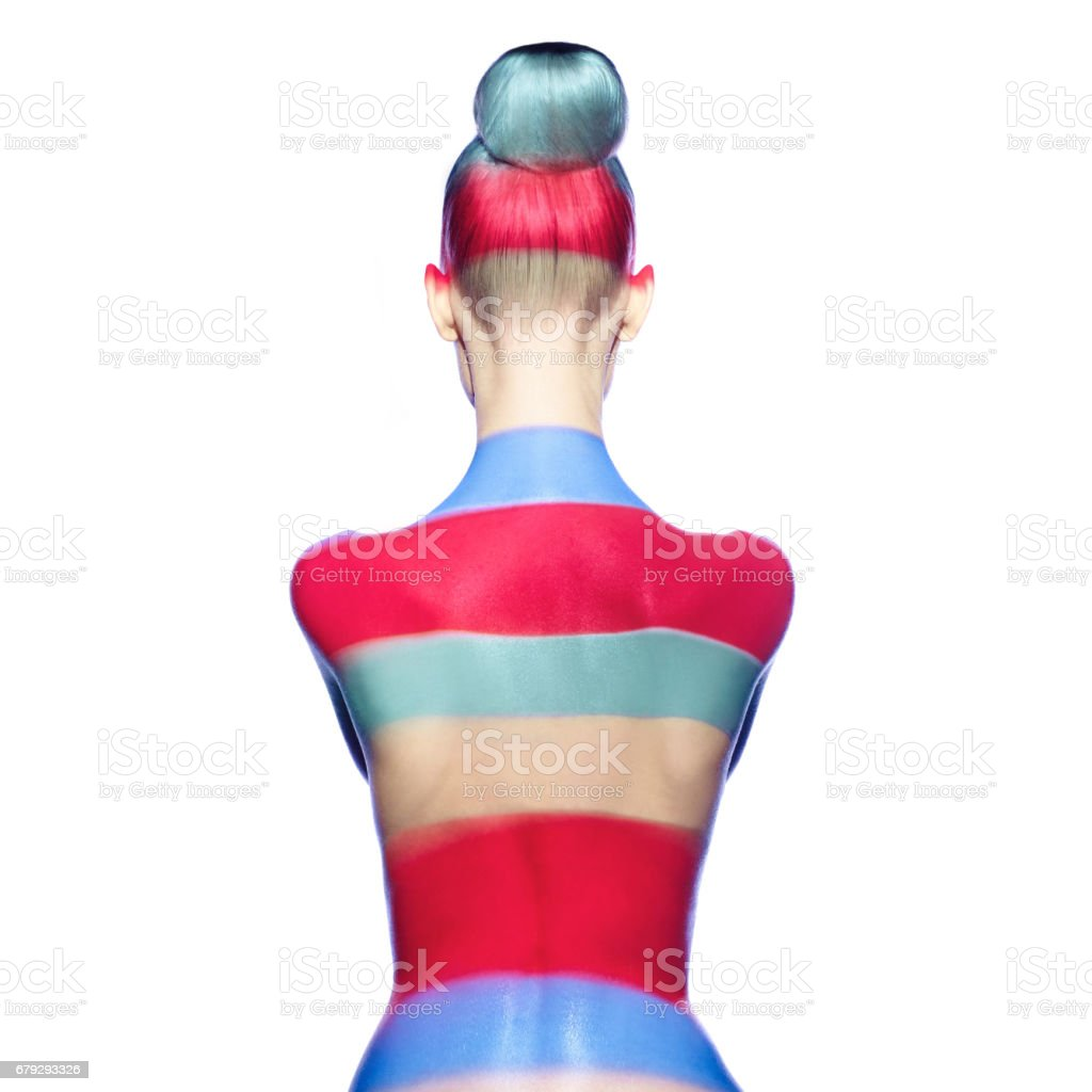 naked lady with color shadows on her body stock photo