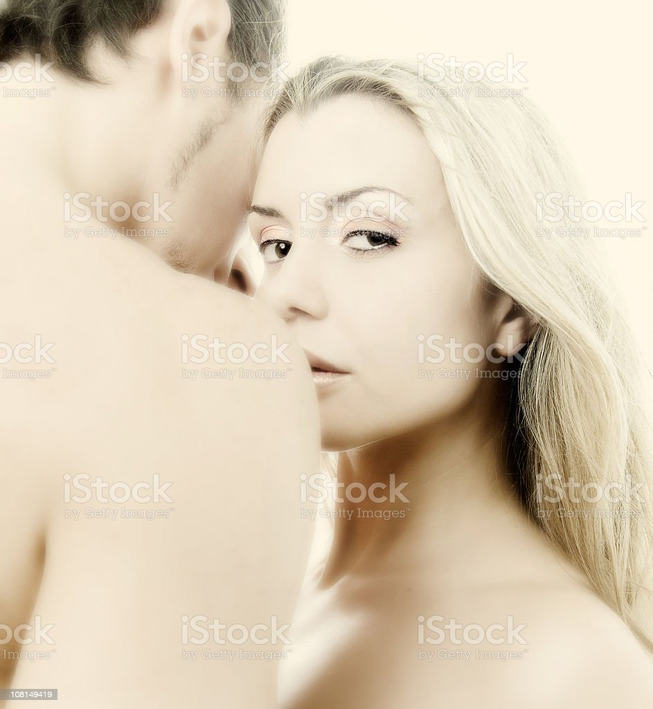 Naked Man and Woman Embracing royalty-free stock photo