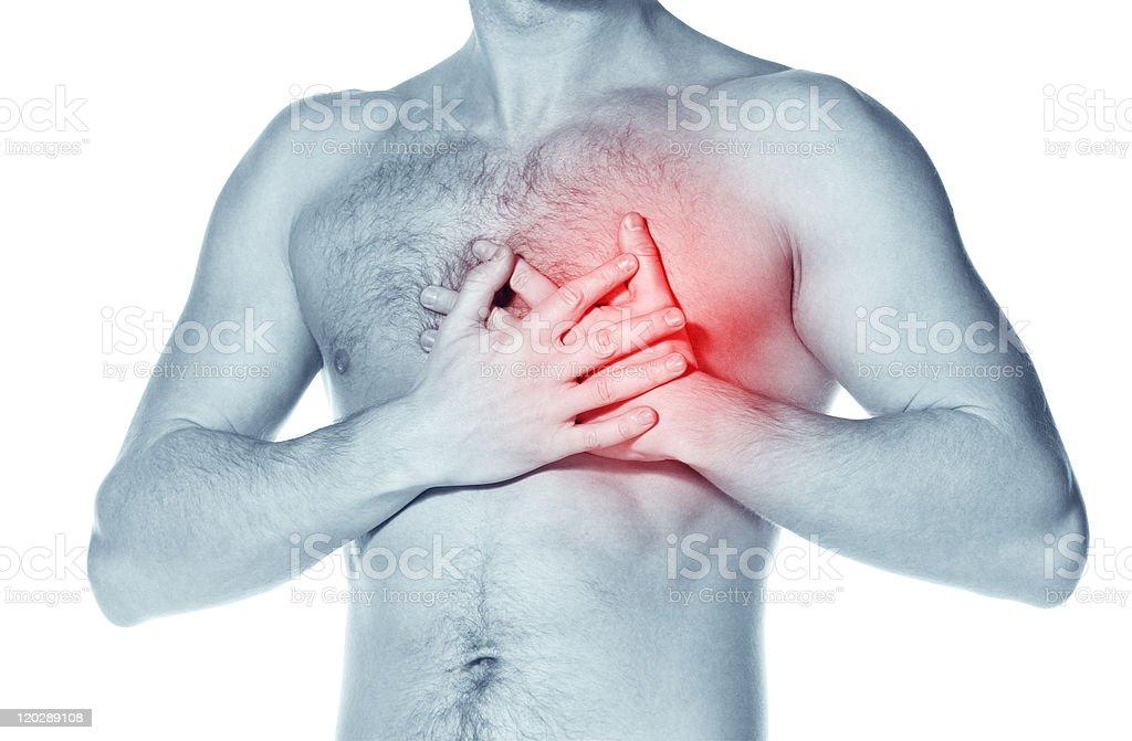naked man  having a heart attack stock photo