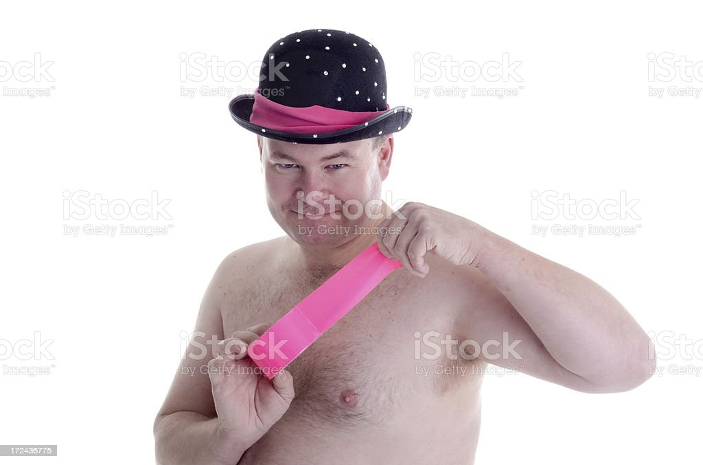 Naked man in bowler hat holding duct tape. royalty-free stock photo
