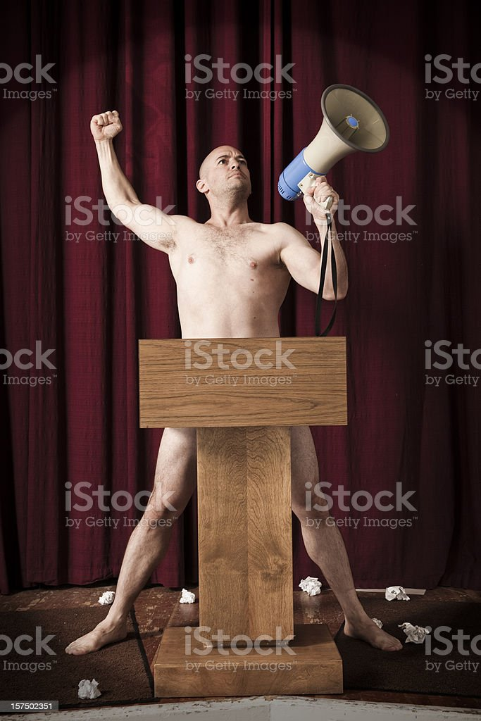 Naked Man on Stage royalty-free stock photo