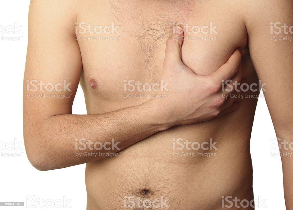 naked men having a heart attack stock photo