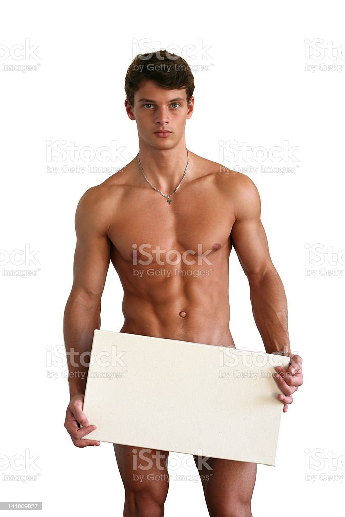 Naked Muscular Man Covering with a Box Isolated on White royalty-free stock photo