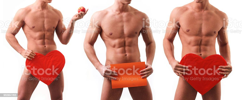 Naked muscular man covering with St. Valentine`s Heart royalty-free stock photo