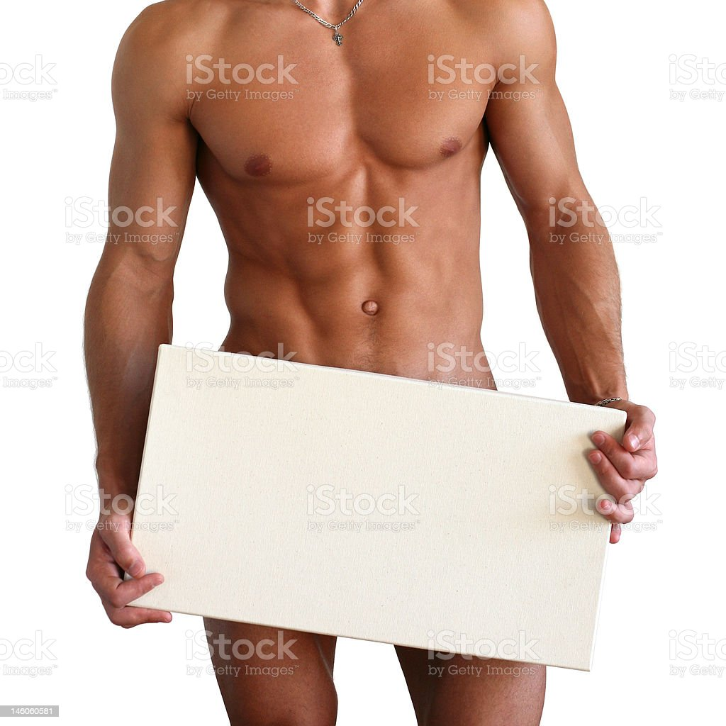Naked Muscular Torso Covering Copy Space Box stock photo