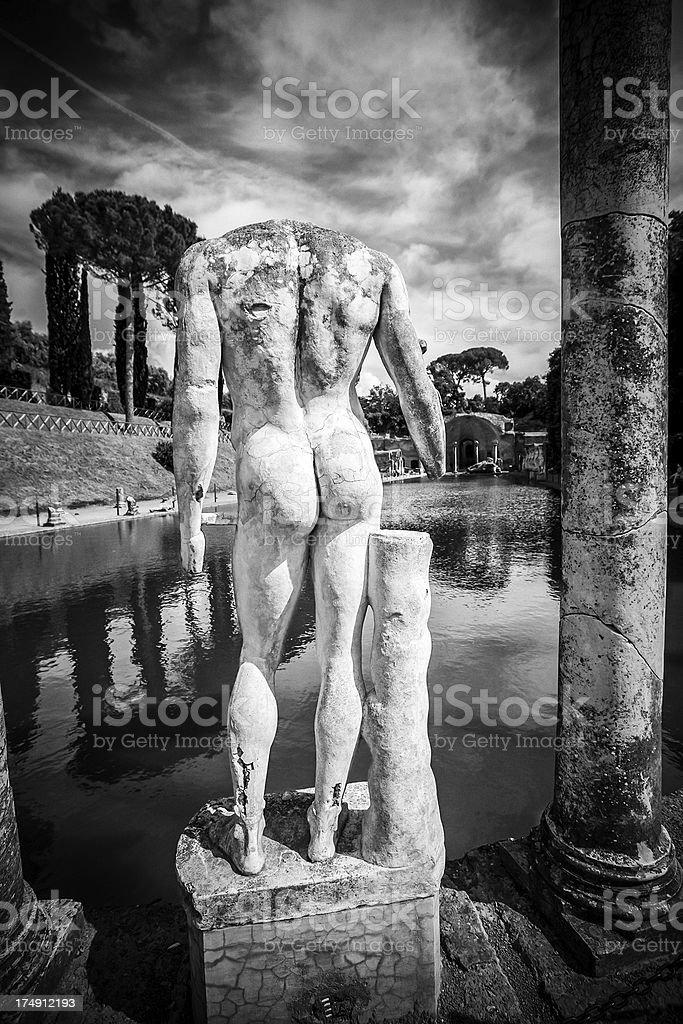 Naked statue at Hadrian's Villa's Canopus stock photo