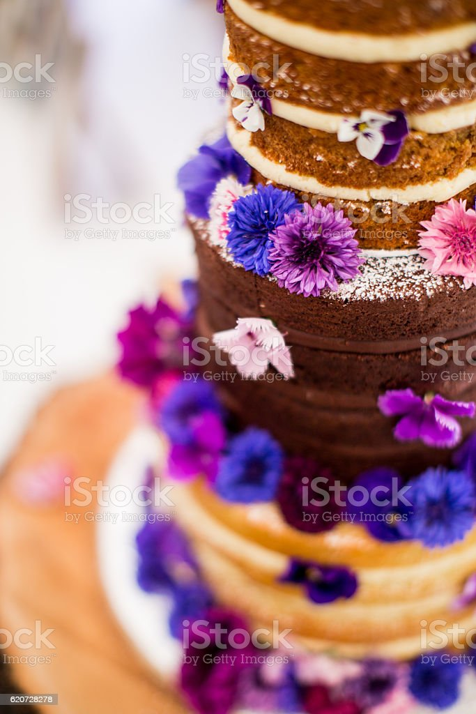 Naked Wedding cake stock photo