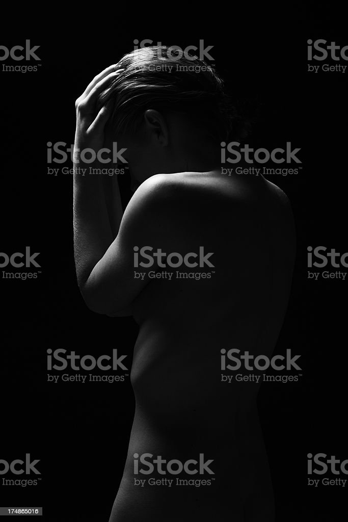 Naked woman showing emotions royalty-free stock photo