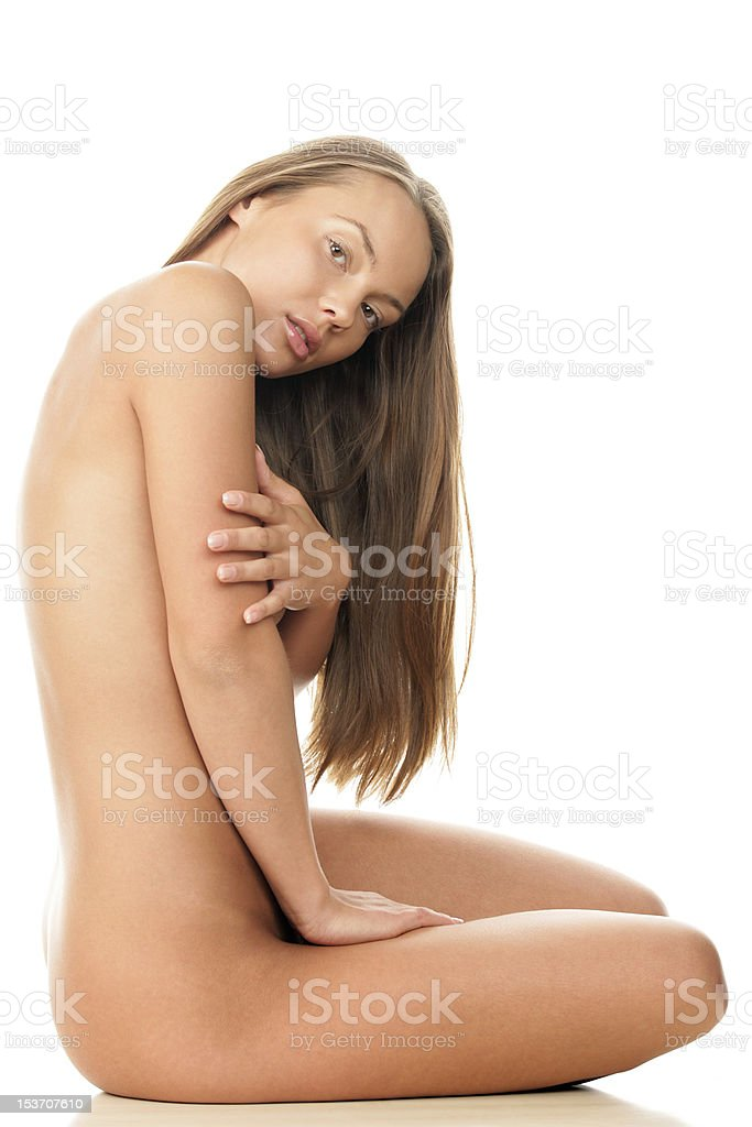 Naked woman sitting royalty-free stock photo