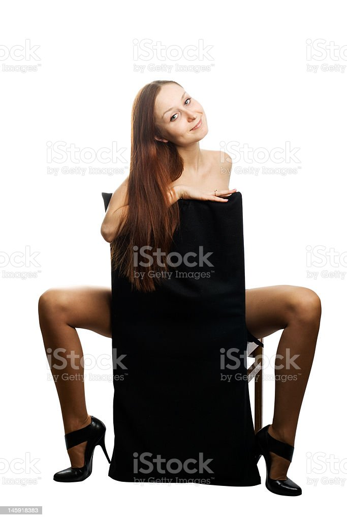 Naked woman with long hairs royalty-free stock photo