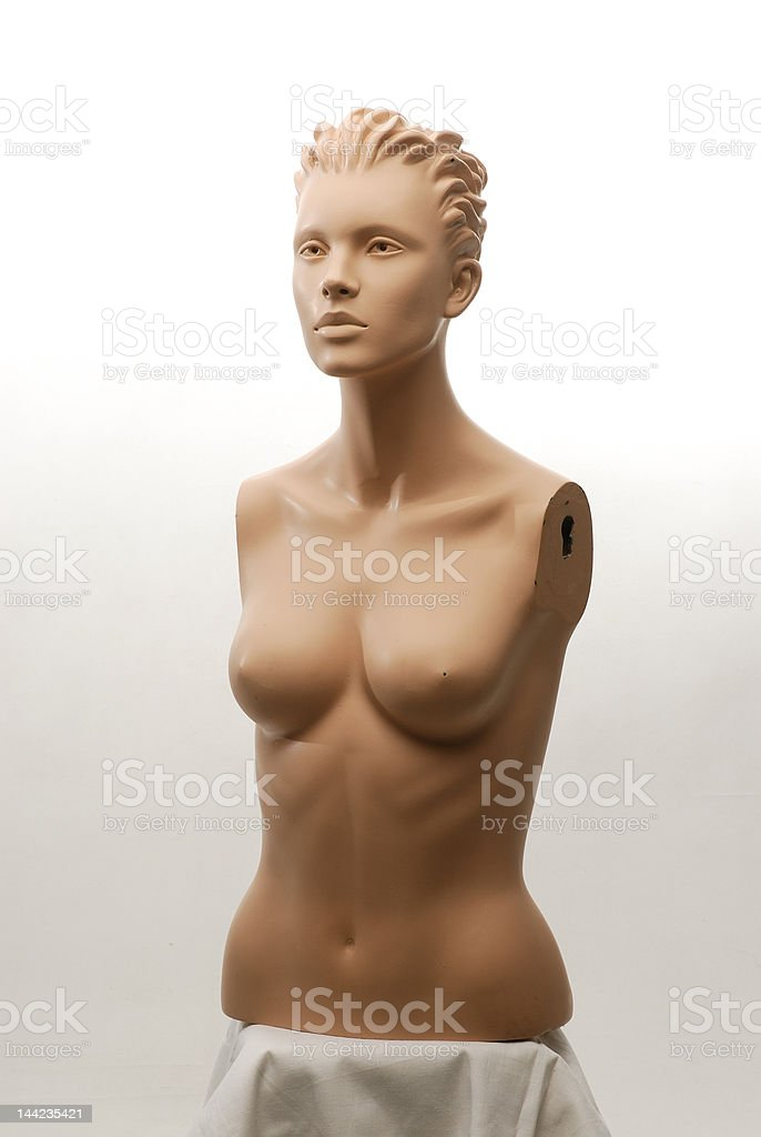Naked Woman's Body Mannequin Handless against white background royalty-free stock photo